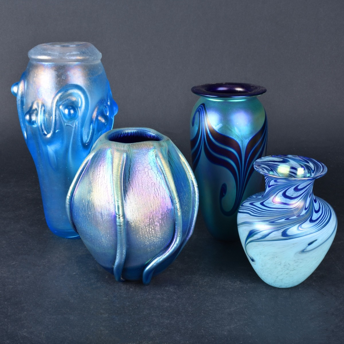 Four (4) Contemporary Art Glass Vases