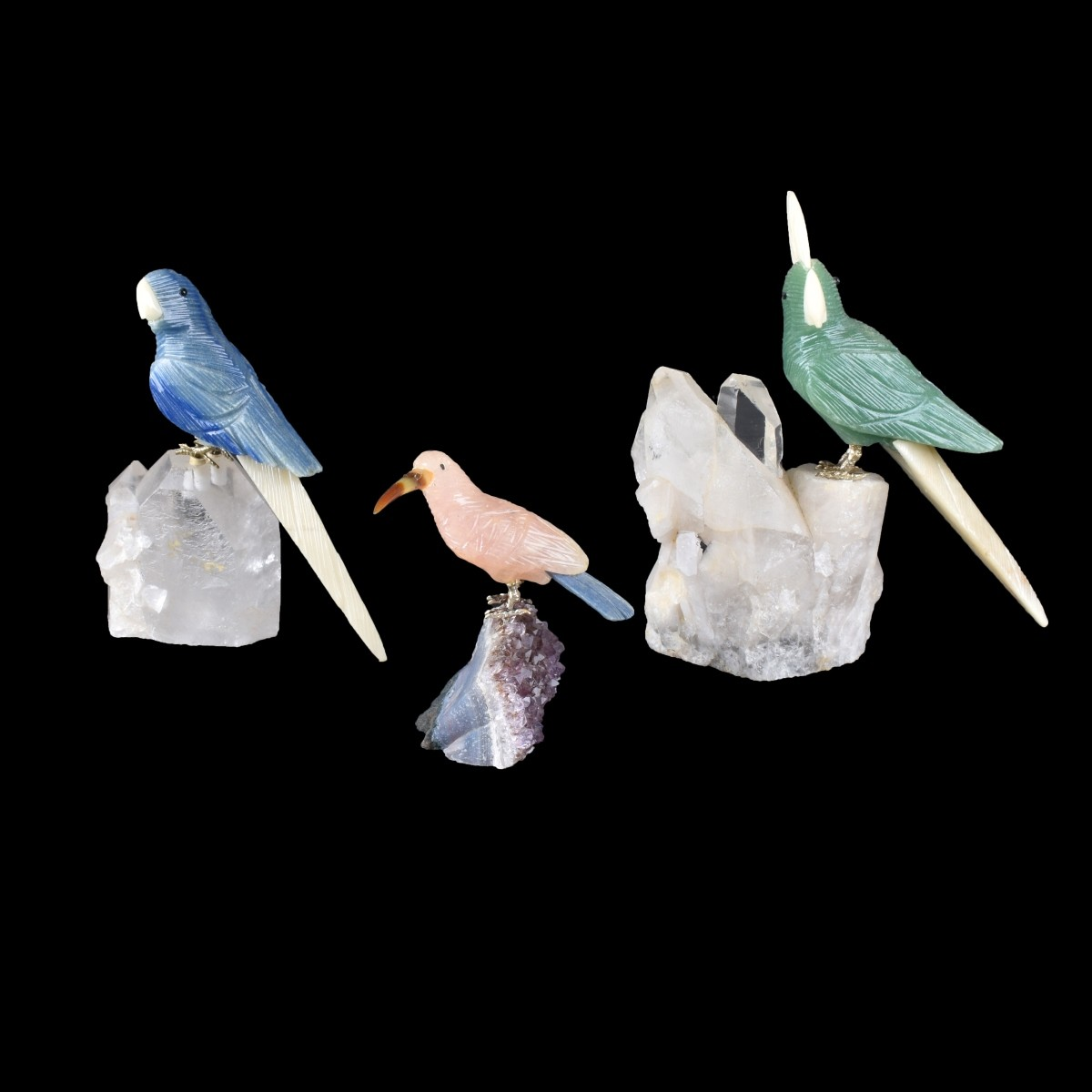 Three (3) Gemstone Bird Sculptures