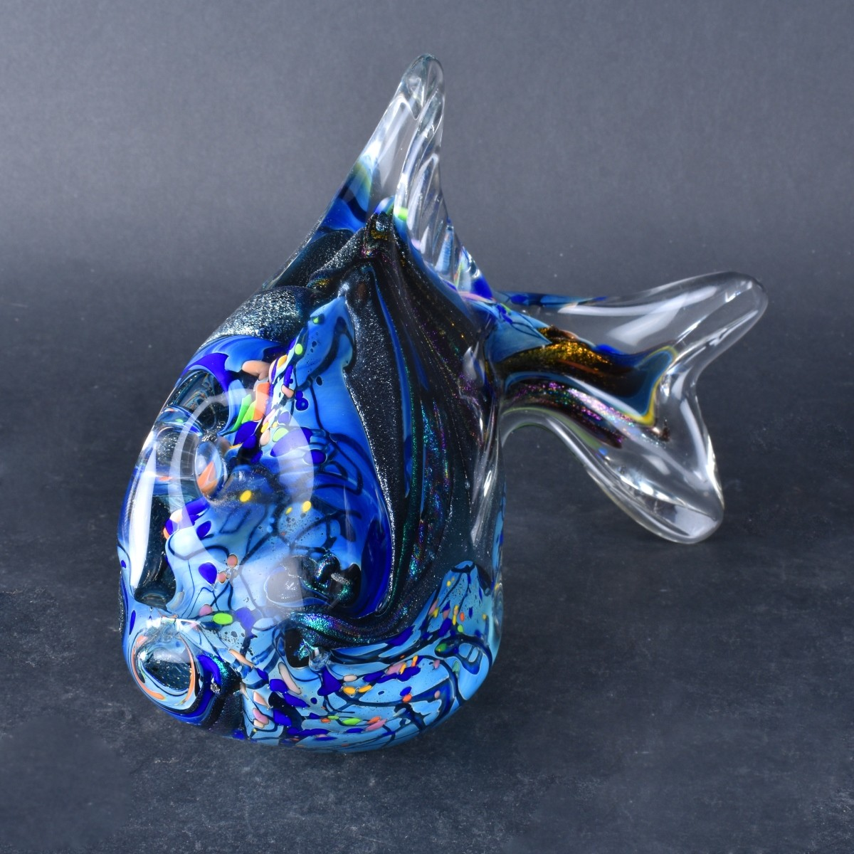 Two (2) Rollin Karg Art Glass Fish Figurines