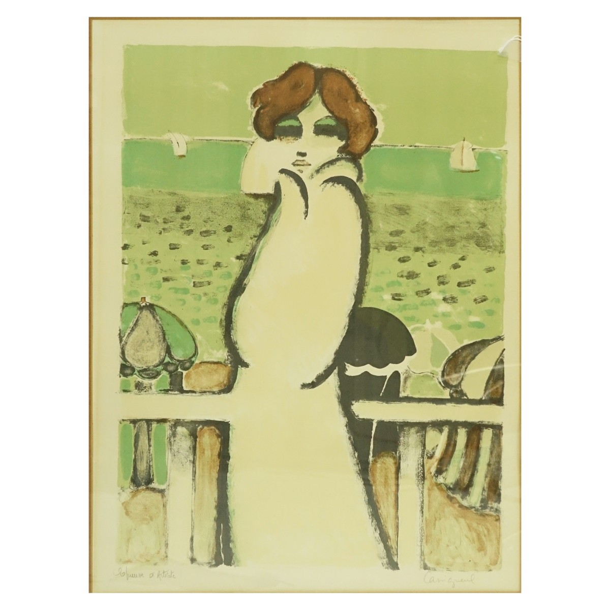 "Contemporary Color Lithograph ""Art Deco Lady"""