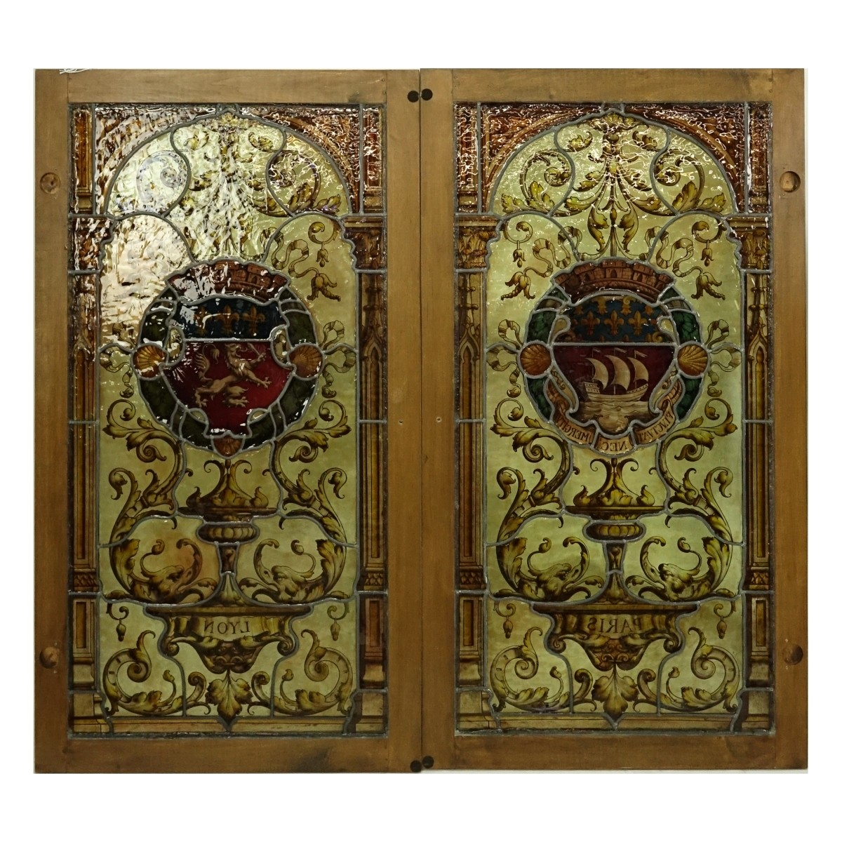 Pair of Vintage Stained Glass Window Panels