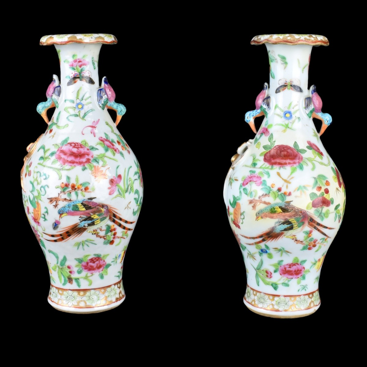Pair of Chinese Famille Rose Export Vases