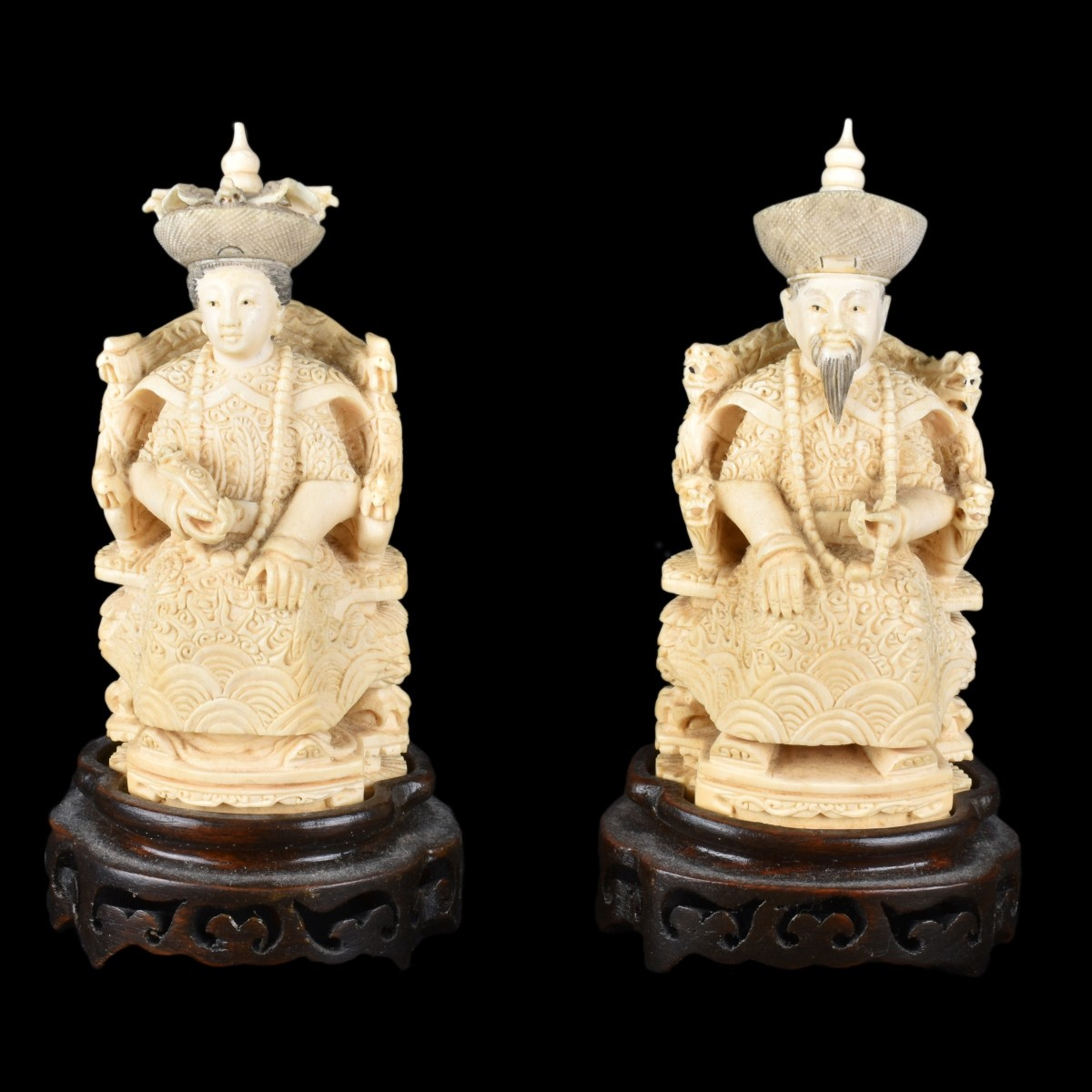 Pair of Chinese Carved Ivory Figurines
