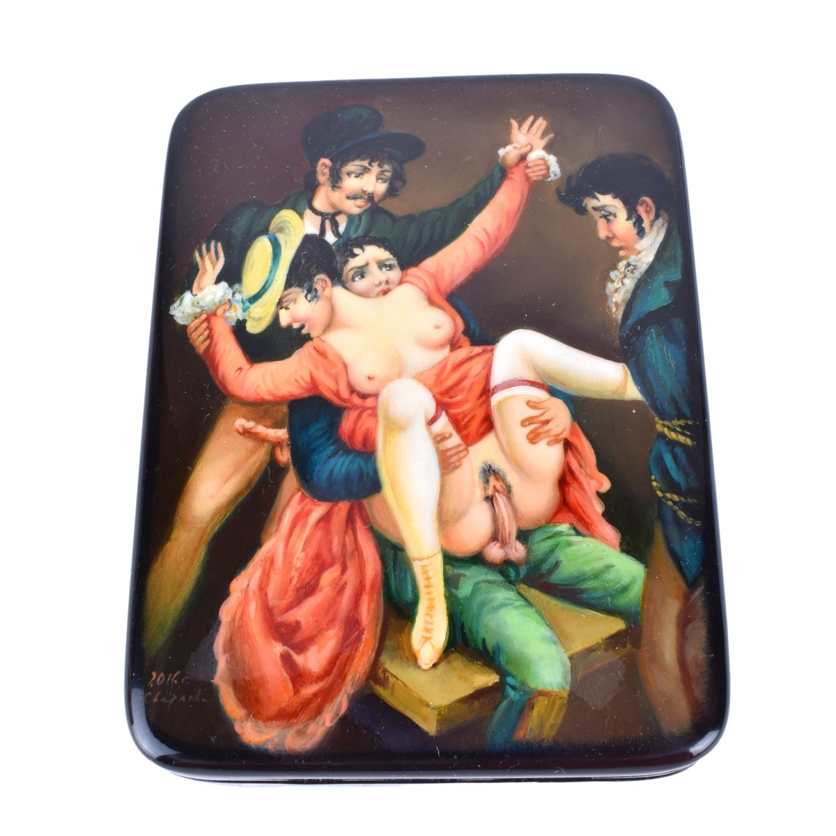 Russian Lacquer Hinged Box With Erotic Scene