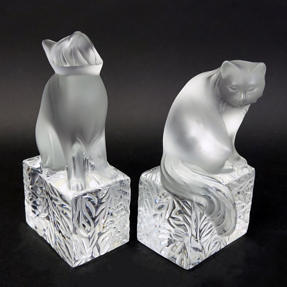 Two (2) Lalique Crystal Cat Paperweights