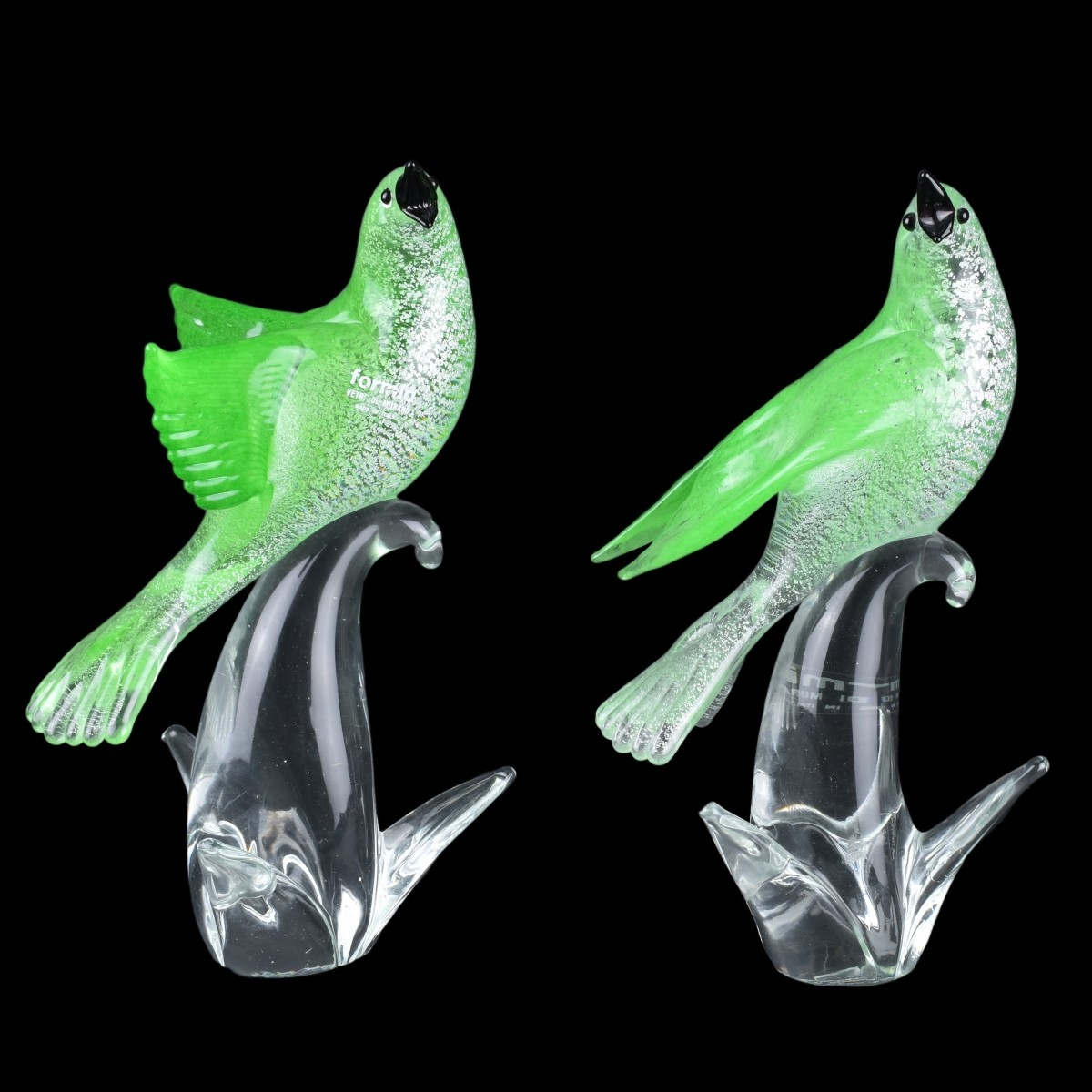 Pair of Formia for Murano Art Glass Birds