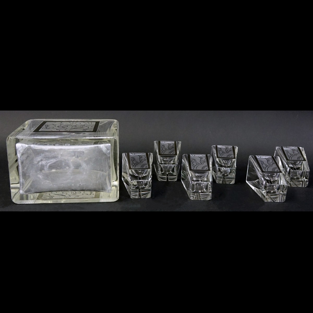 Czech Art Deco Crystal Seven Piece Set