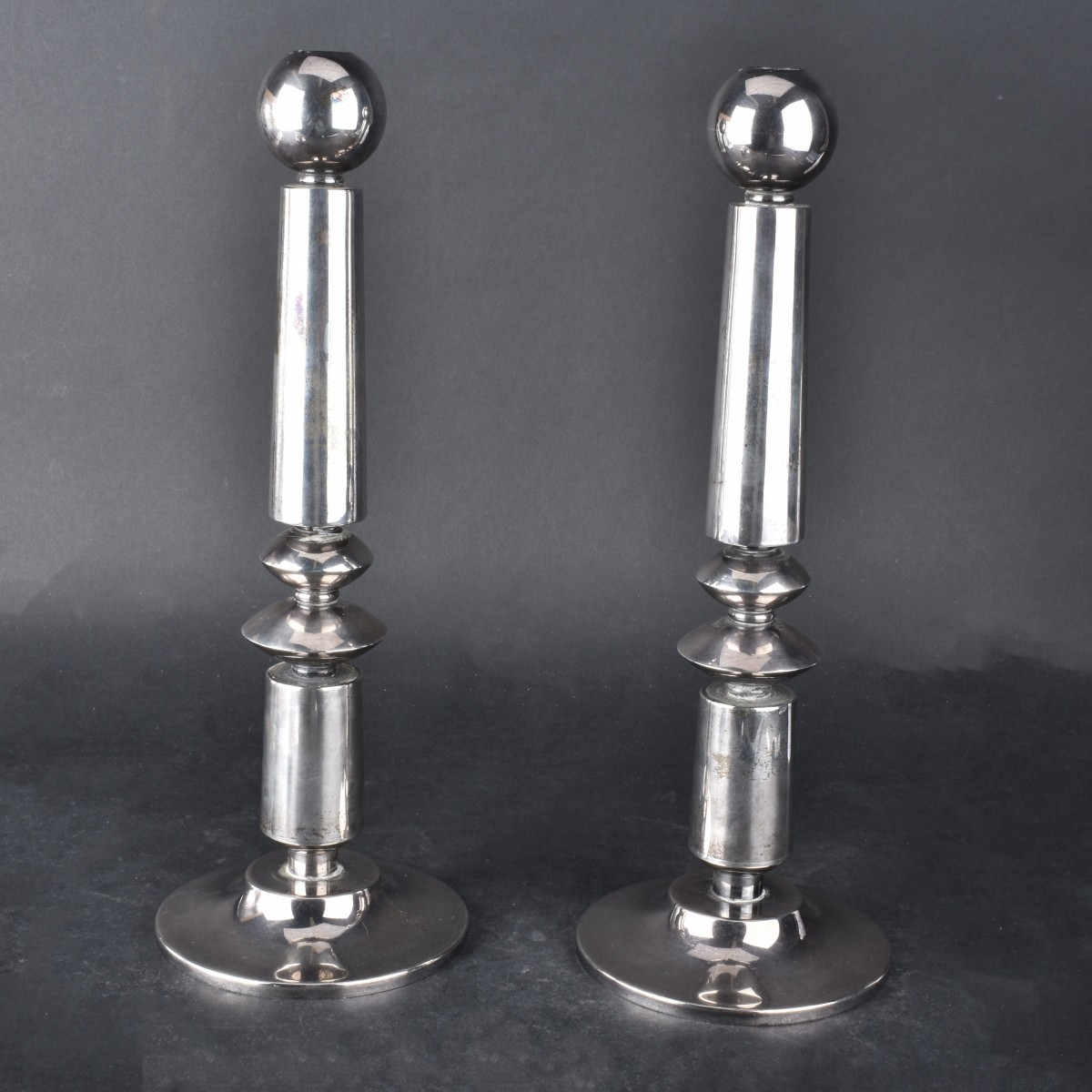 Pair of Israeli Sterling Silver Candlesticks