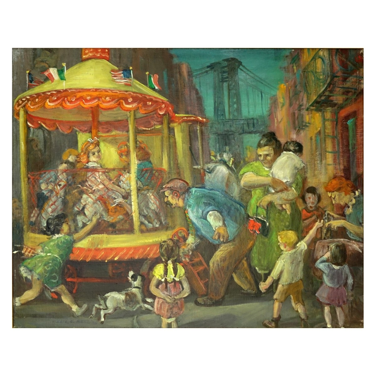 "Cecil C. Bell Oil/Canvas ""Travelling Carousel"""