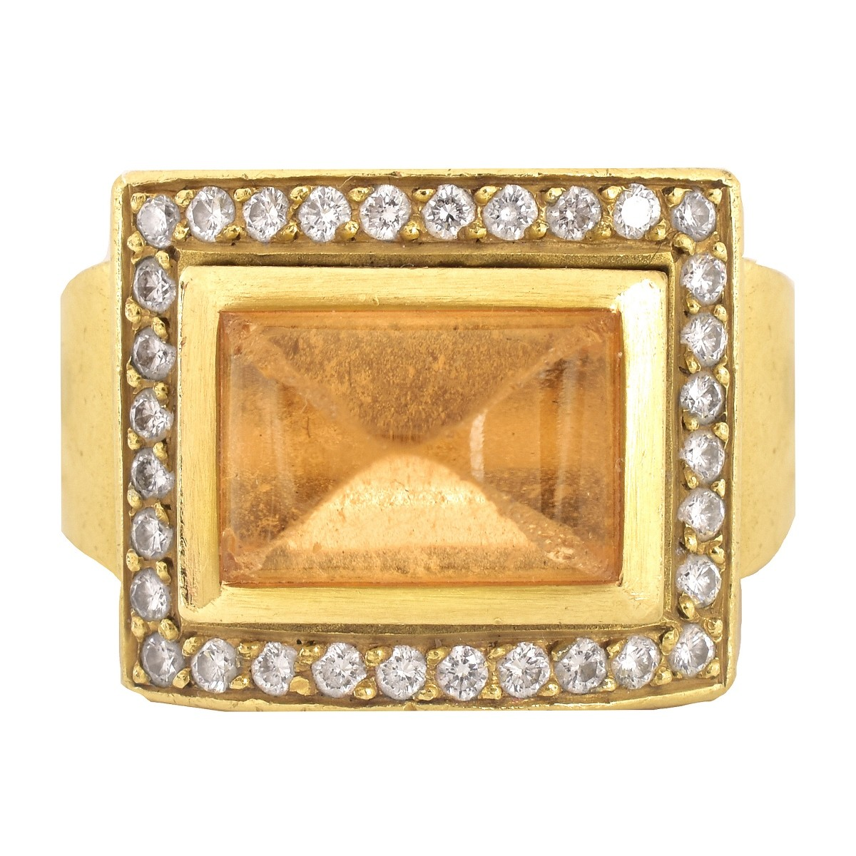 Vintage Citrine, Diamond and 18K Gold Ring