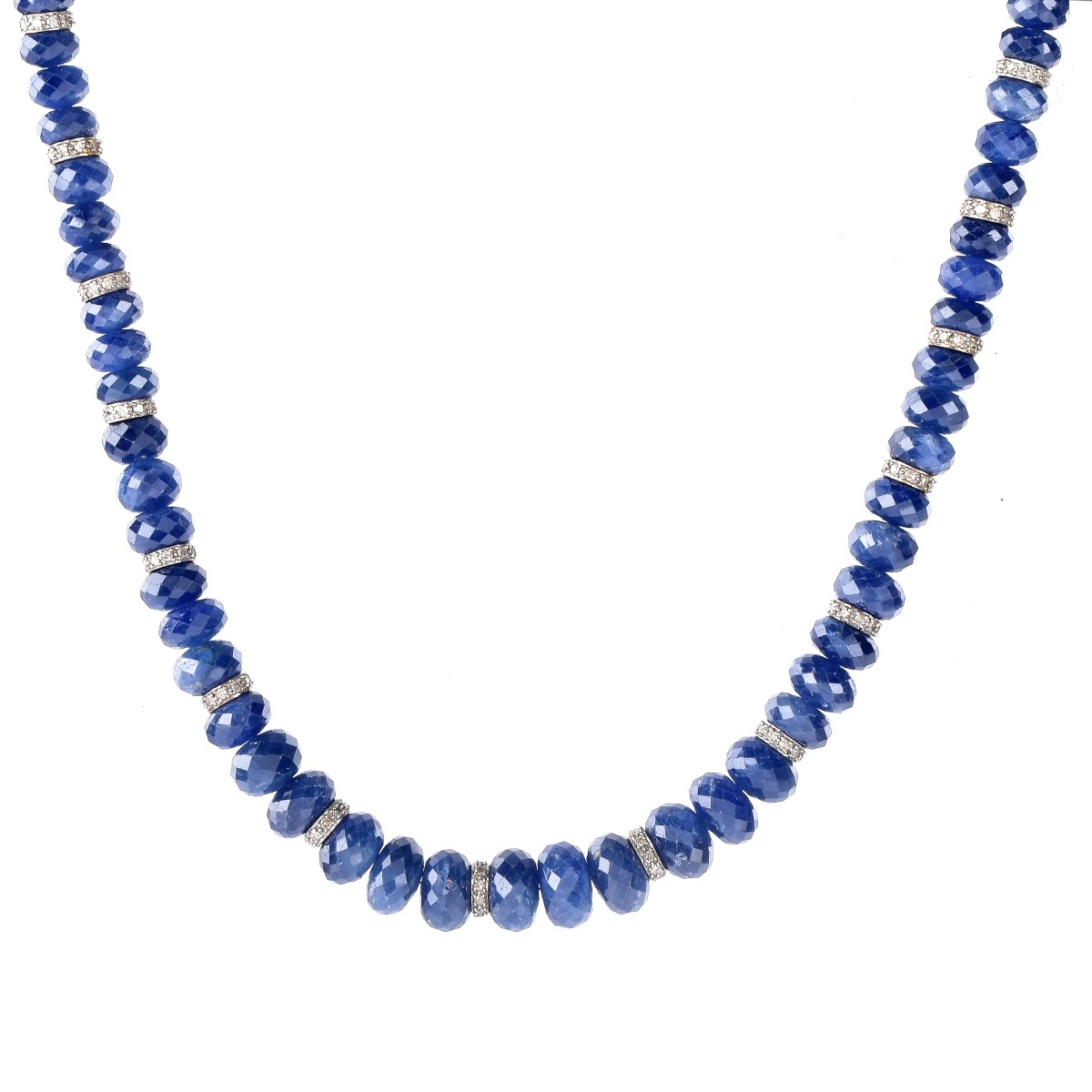 Sapphire, Diamond and 18K Gold Necklace