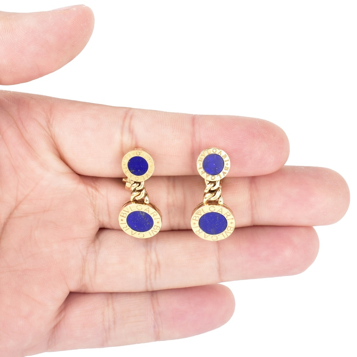 Bulgari 18K Gold and Lapis Earrings