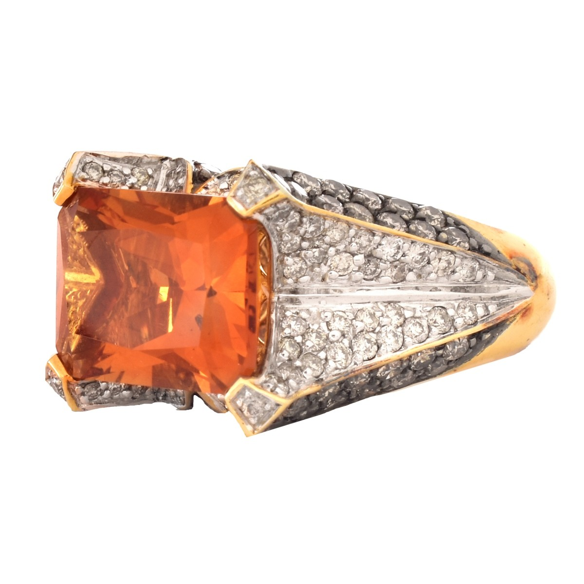 Citrine, Diamond and 14K Gold Ring