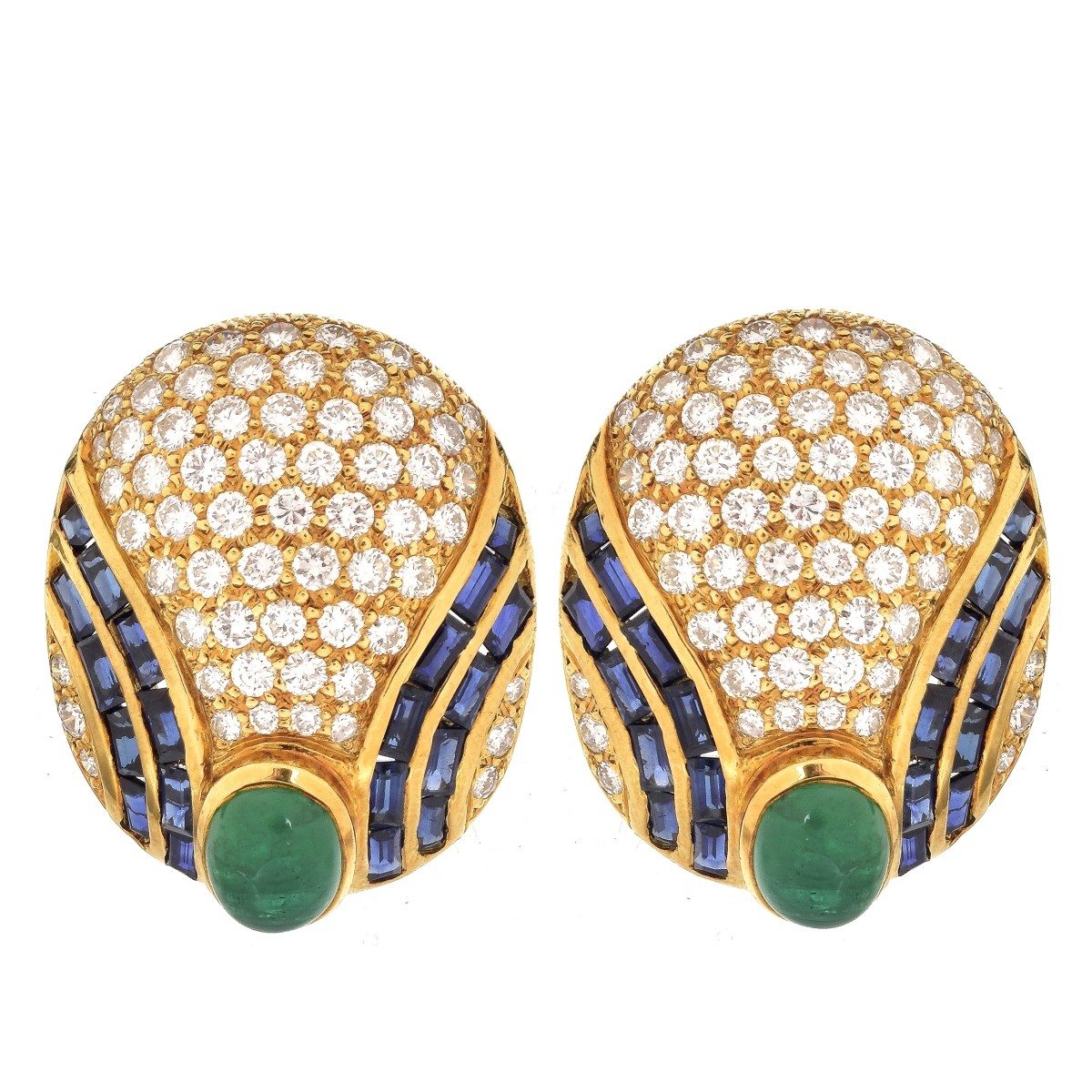 Diamond, Emerald, Sapphire and 18K Earrings