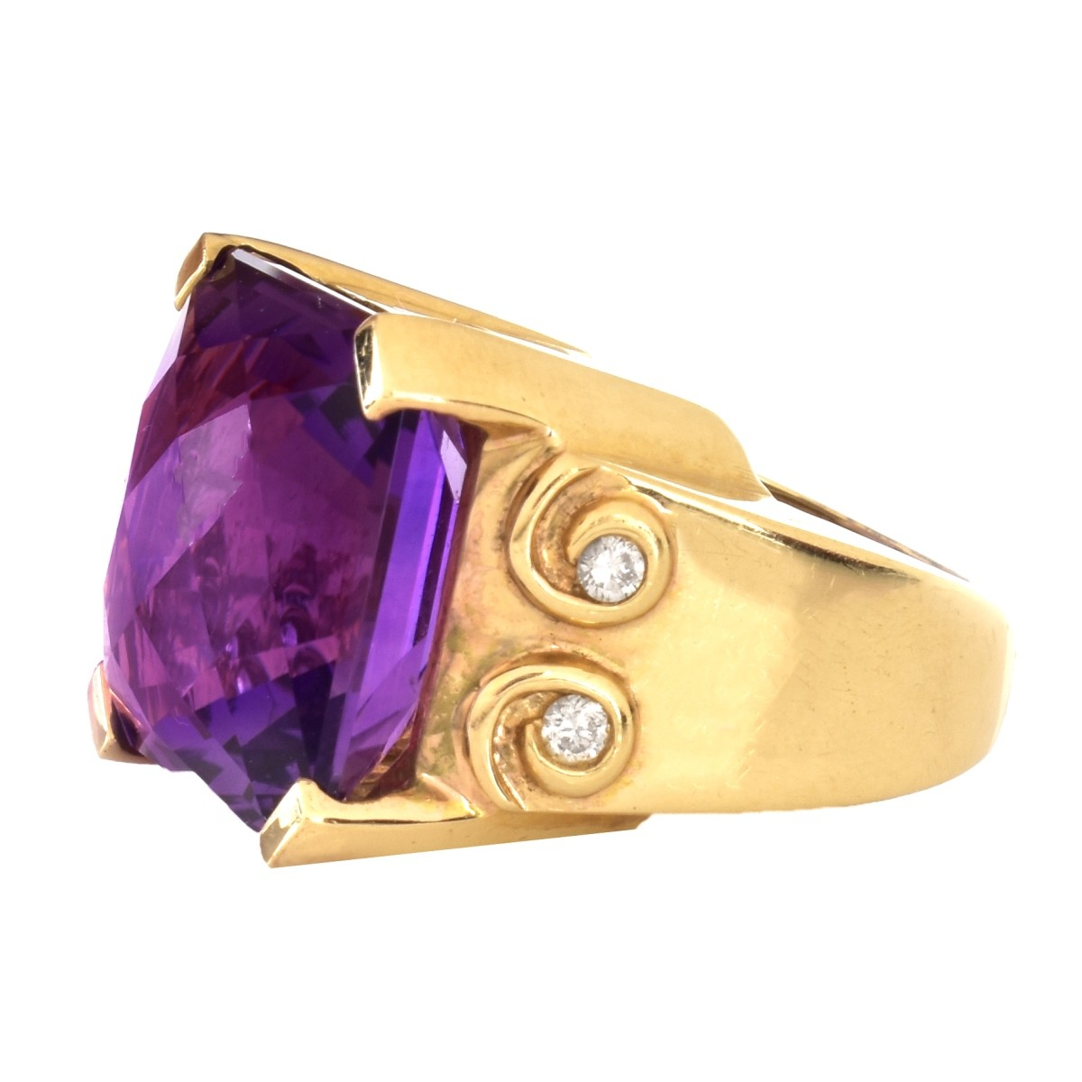 Amethyst, Diamond and 14K Gold Ring