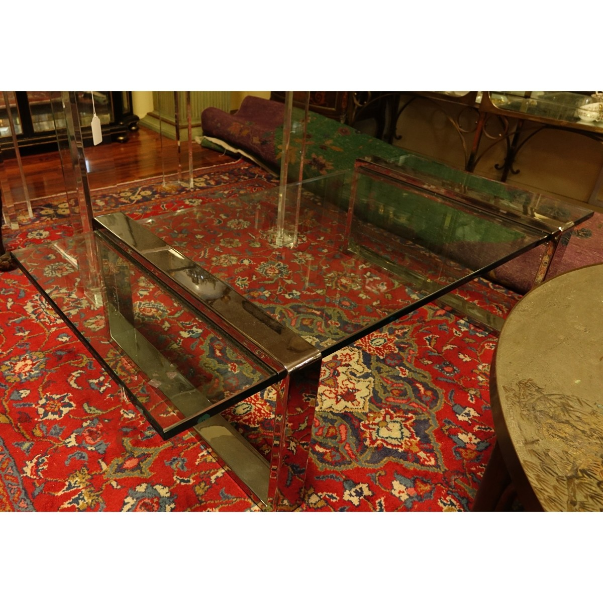 Roger Sprunger Chrome and Glass Coffee Table