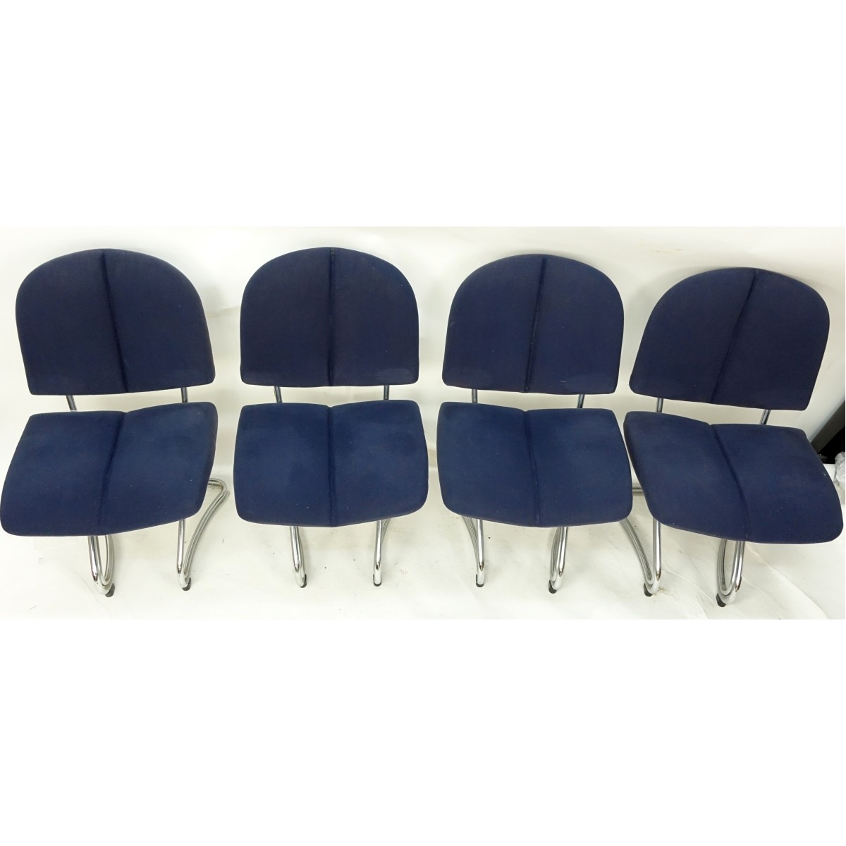Four (4) Modern Chrome and Upholstered Chairs