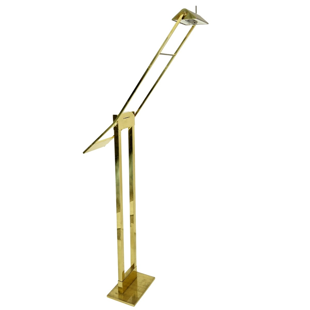 Mid Century Modern Gilt Brass Floor Lamp