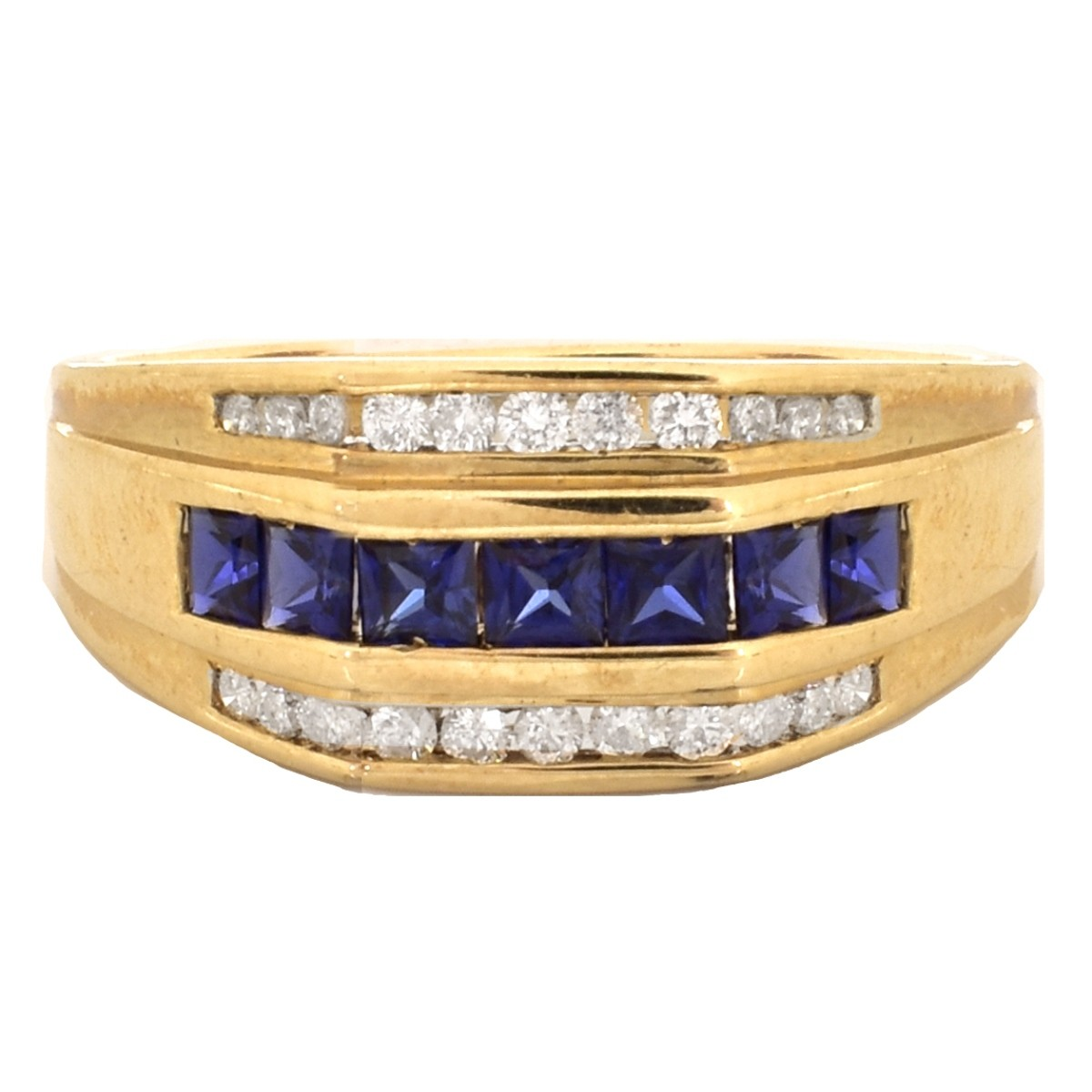 Man's Diamond, Sapphire and 10K Gold Ring
