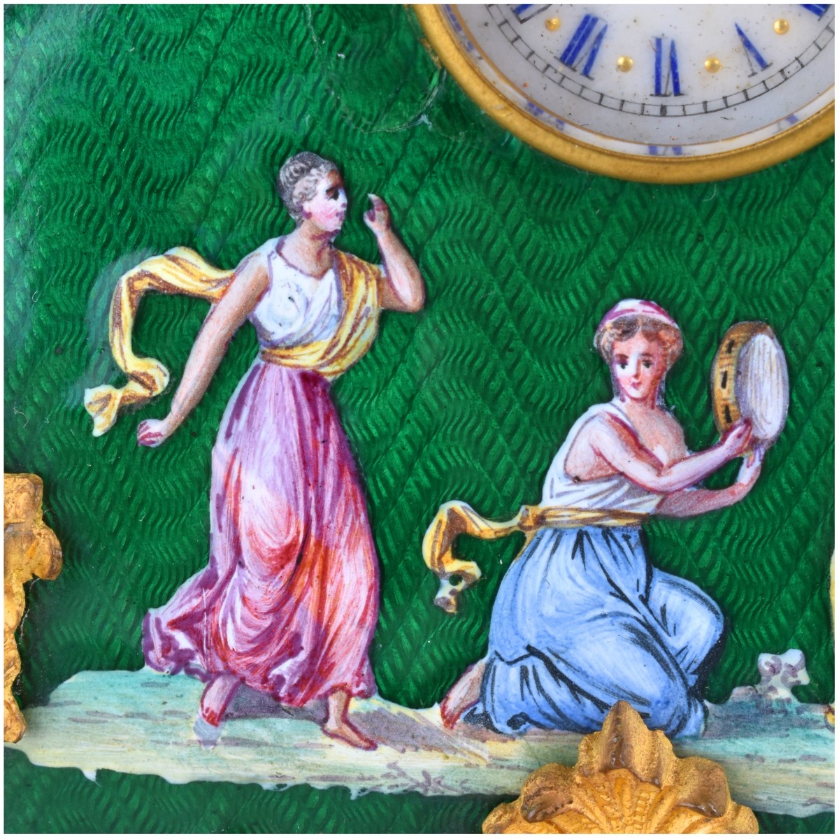 Two Antique Bronze and Enameled Miniature Clocks