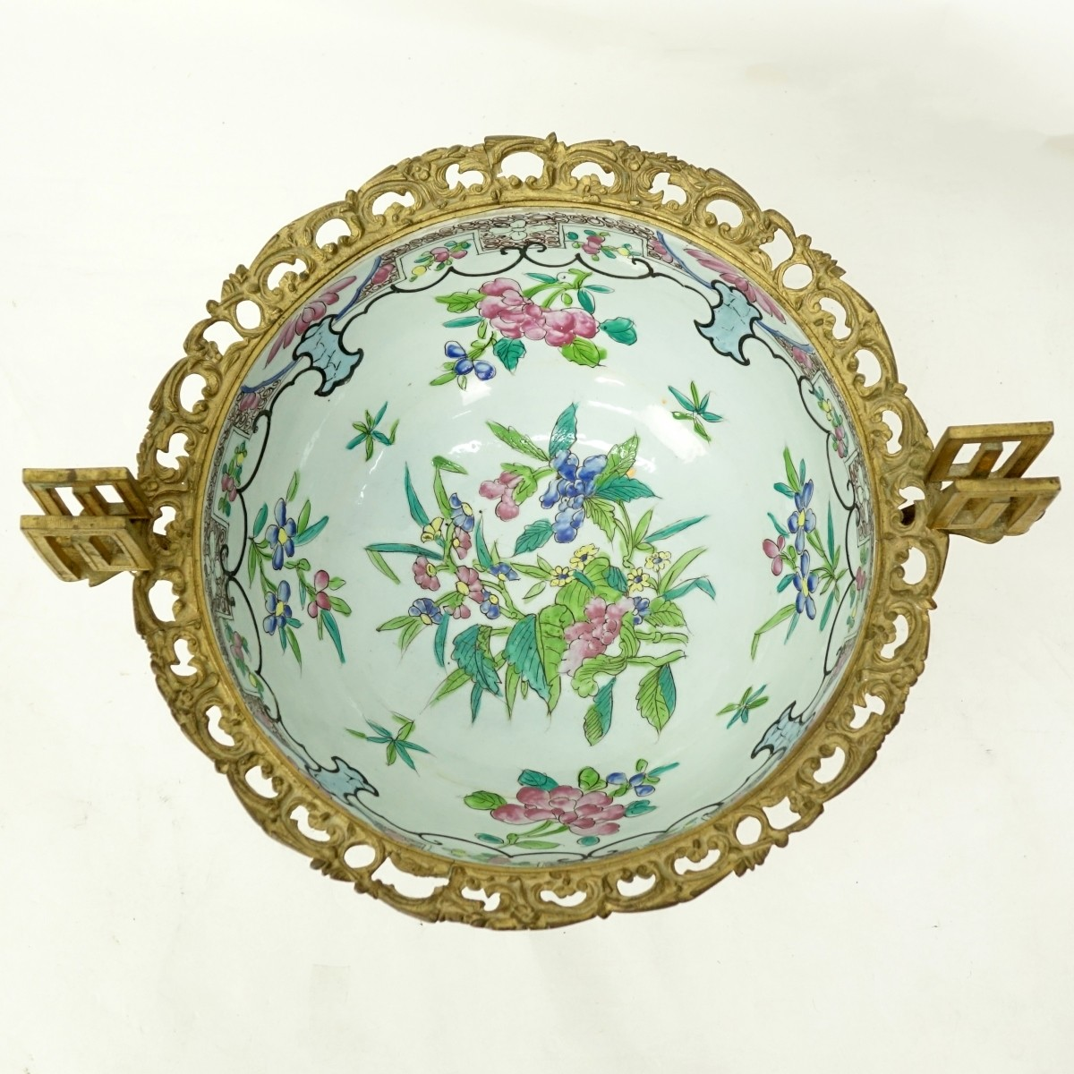 Antique Bronze Mounted Chinese Porcelain Bowl