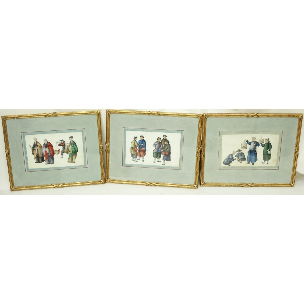 Three (3) Antique Chinese Export Watercolours