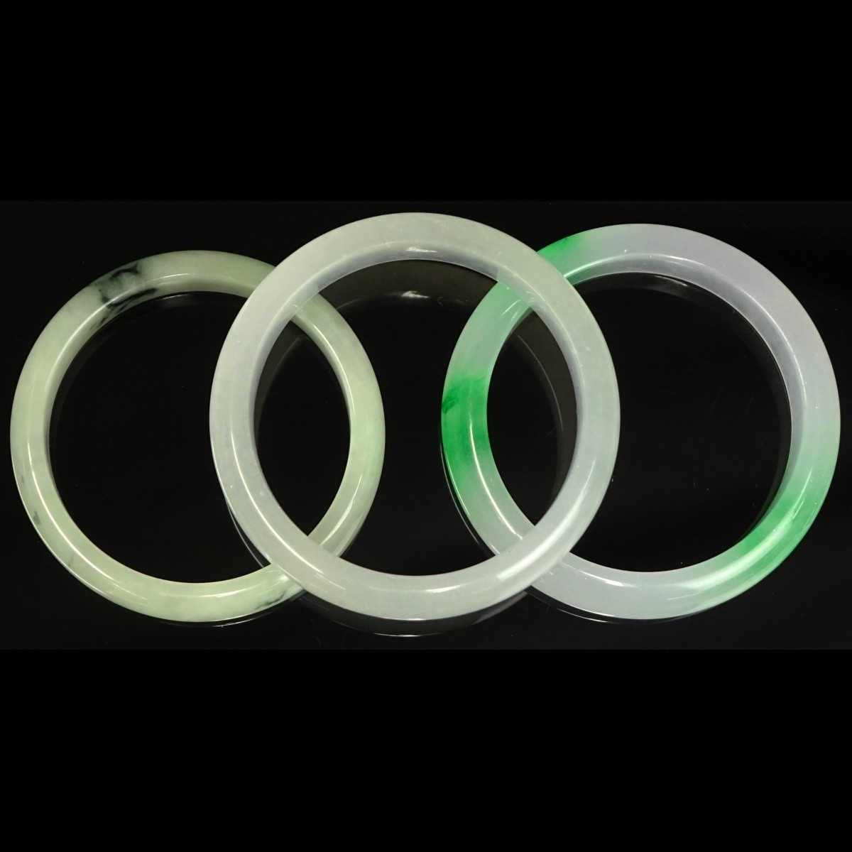 Three (3) Chinese Jade Bangle Bracelets