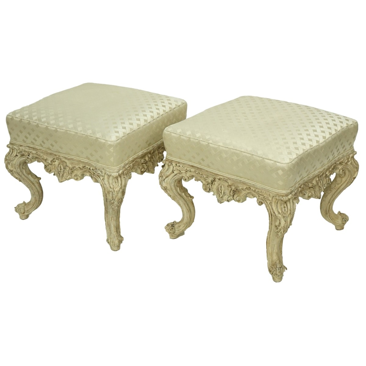 Pair of Louis XV Style Upholstered Benches