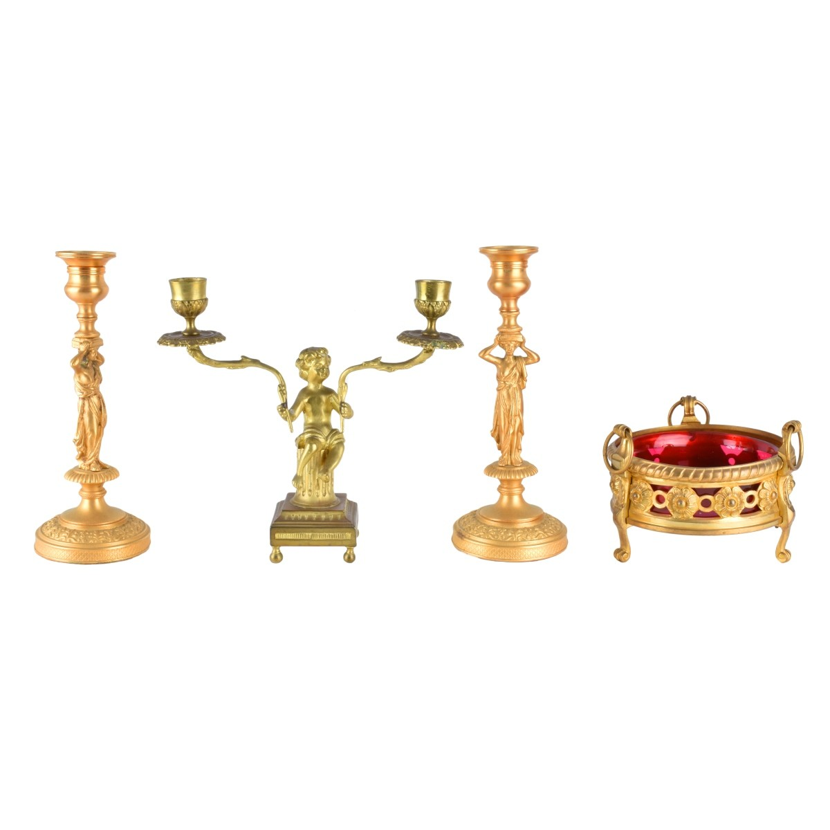 Four (4) Antique Gilt Bronze Tableware