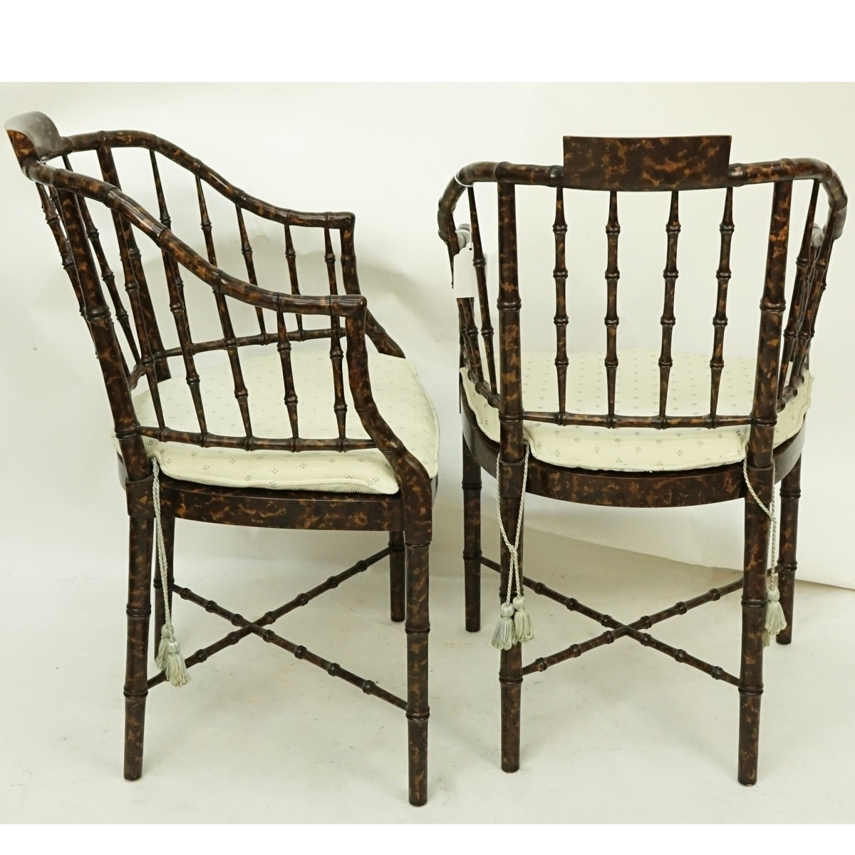 Pair of Faux Tortoise Bamboo Stylized Armchairs