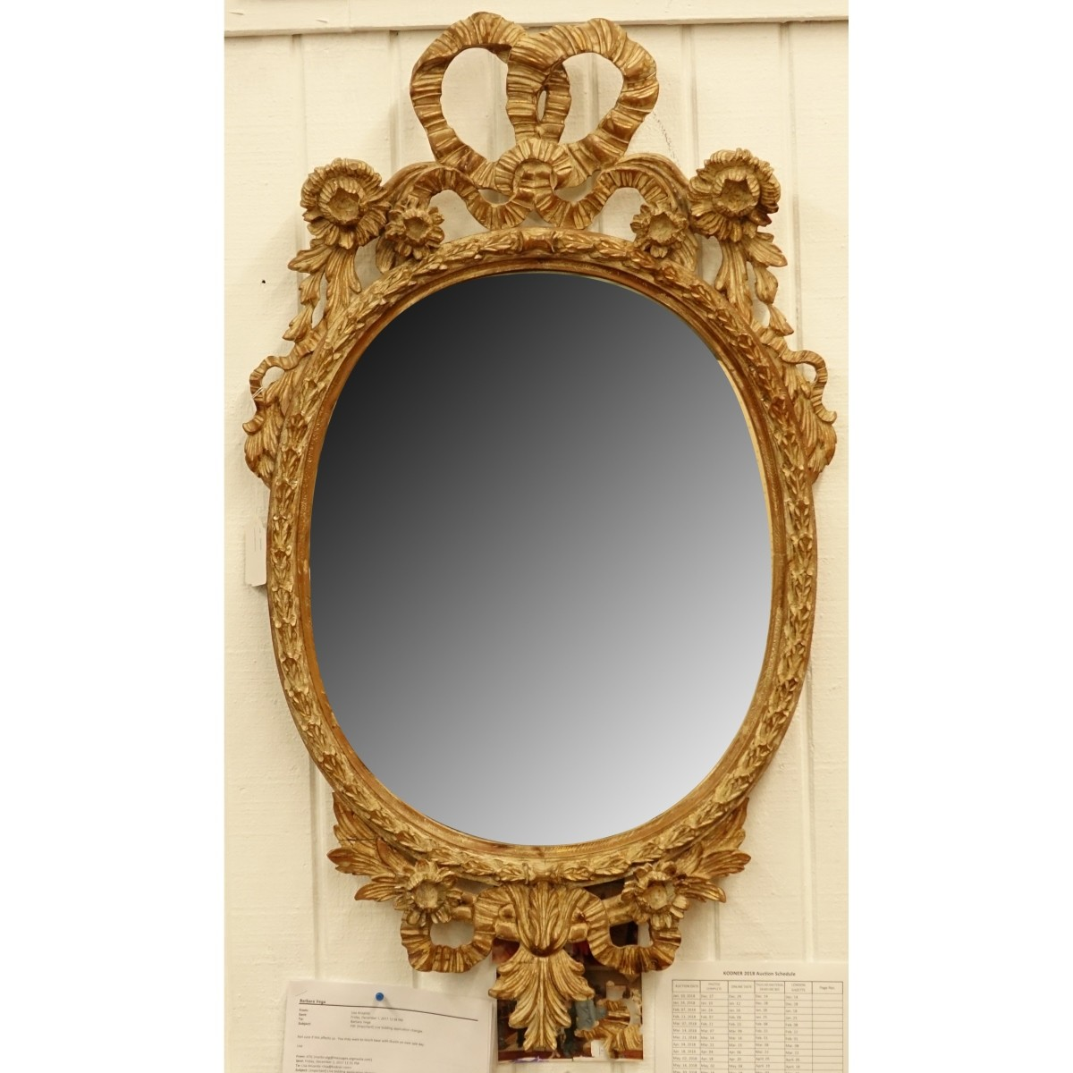 Louis XVI Style Gilt Carved Oval Mirror