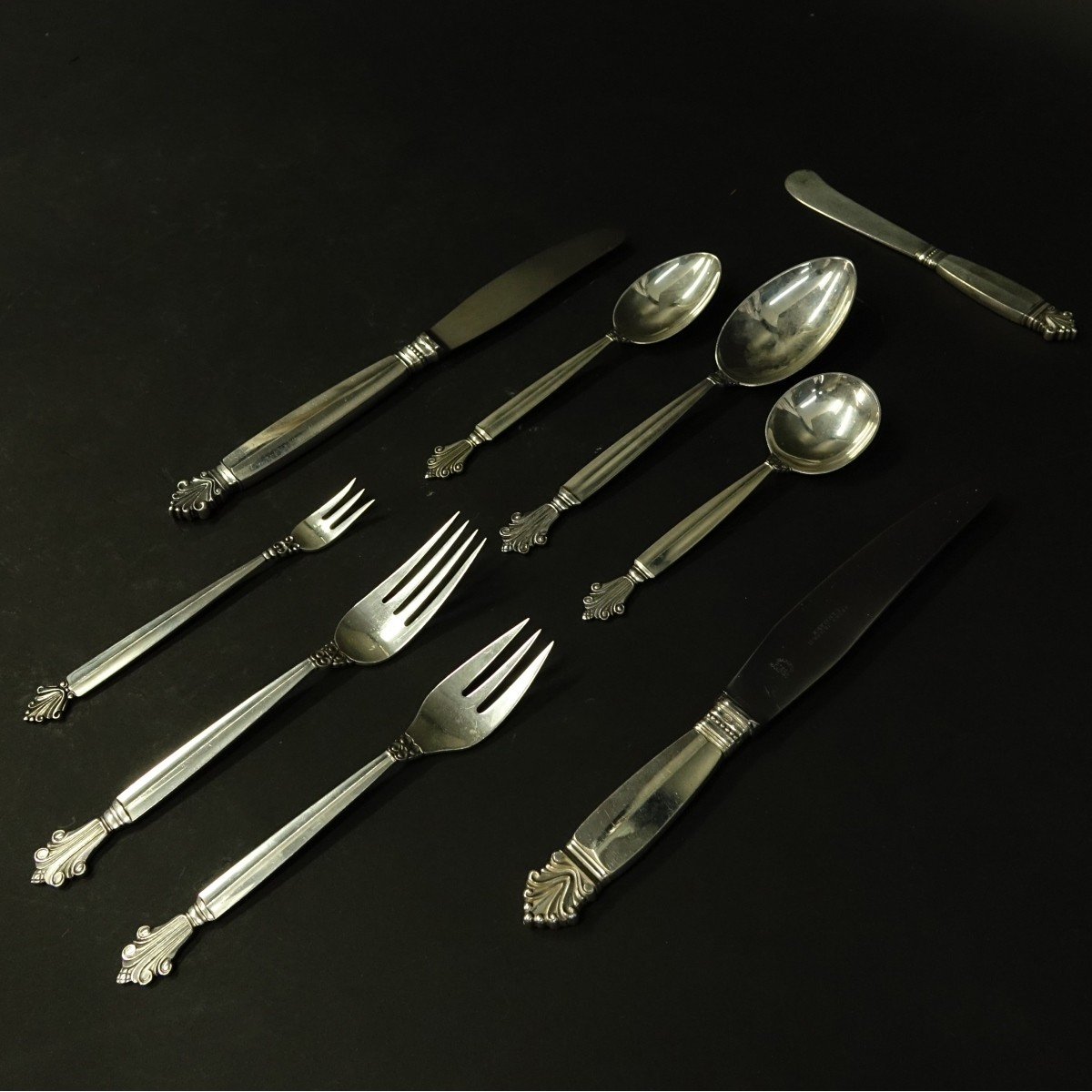 156 Pieces Georg Jensen Acanthus Flatware