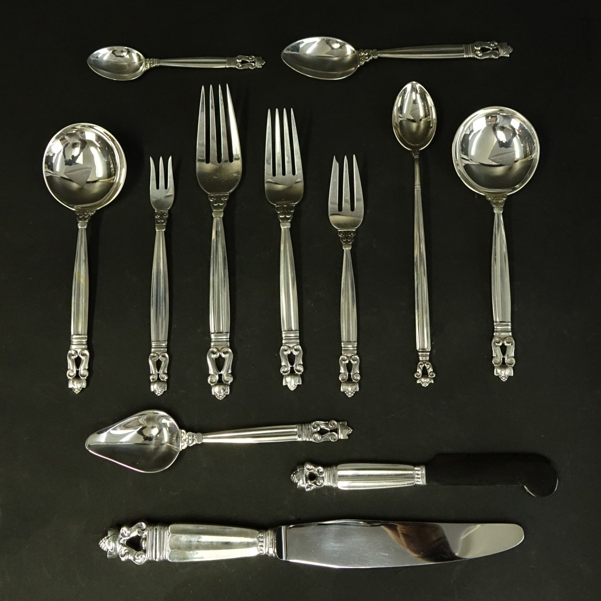 109 Pieces Georg Jensen Acorn Flatware