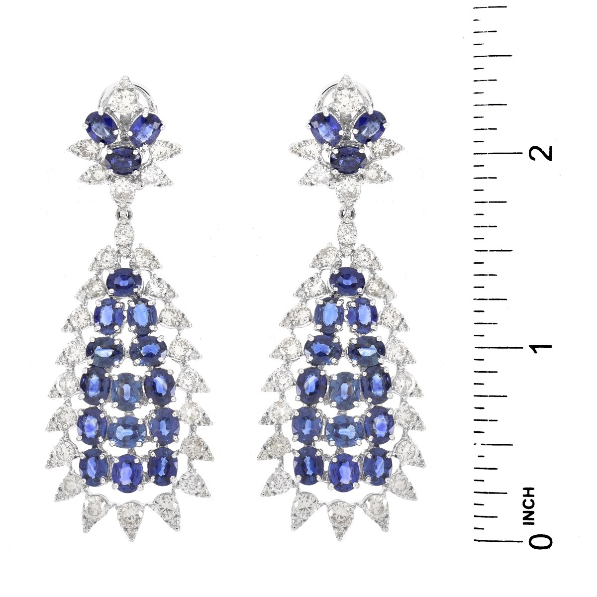 VCA style Sapphire and Diamond Earrings