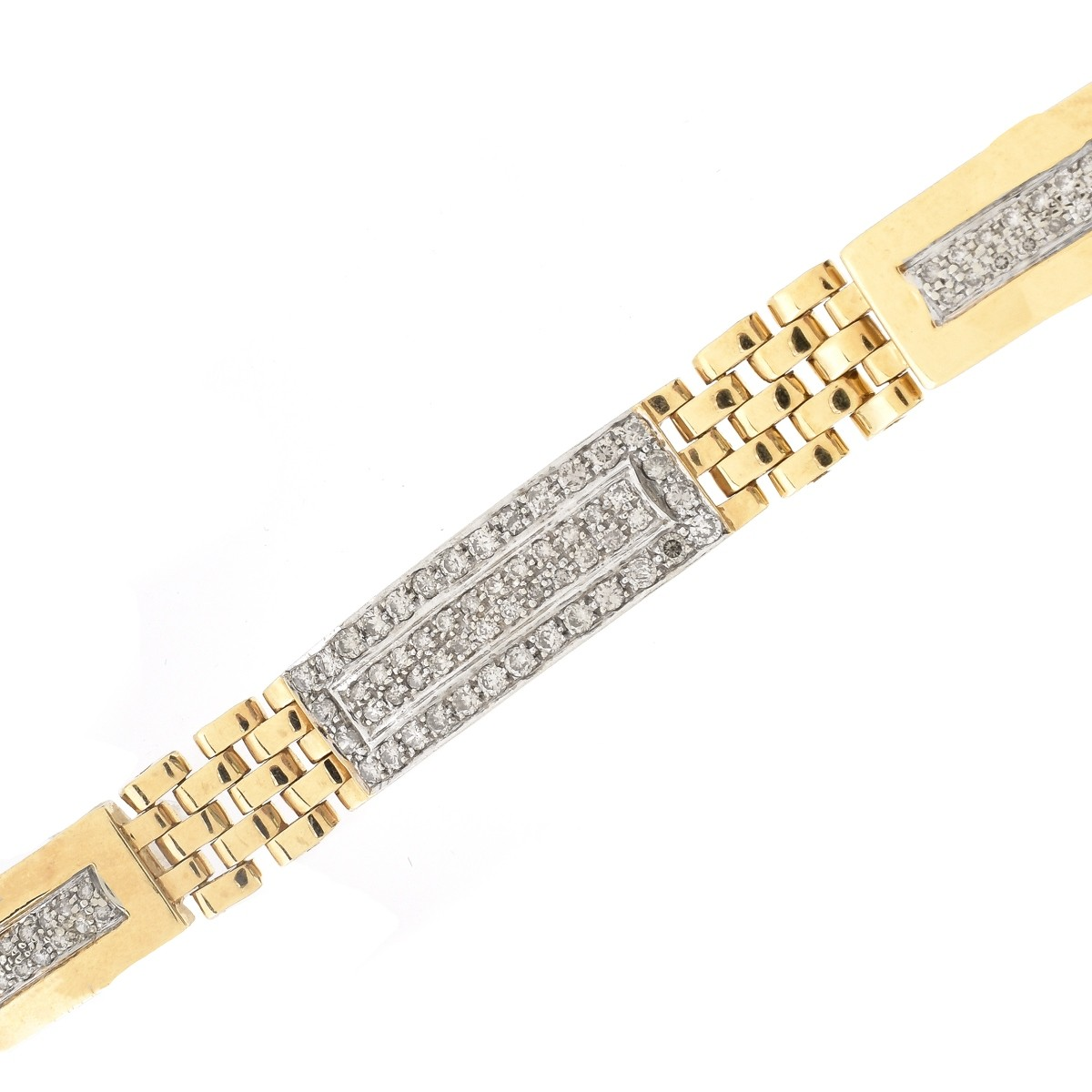Man's Diamond and 14K Gold Bracelet
