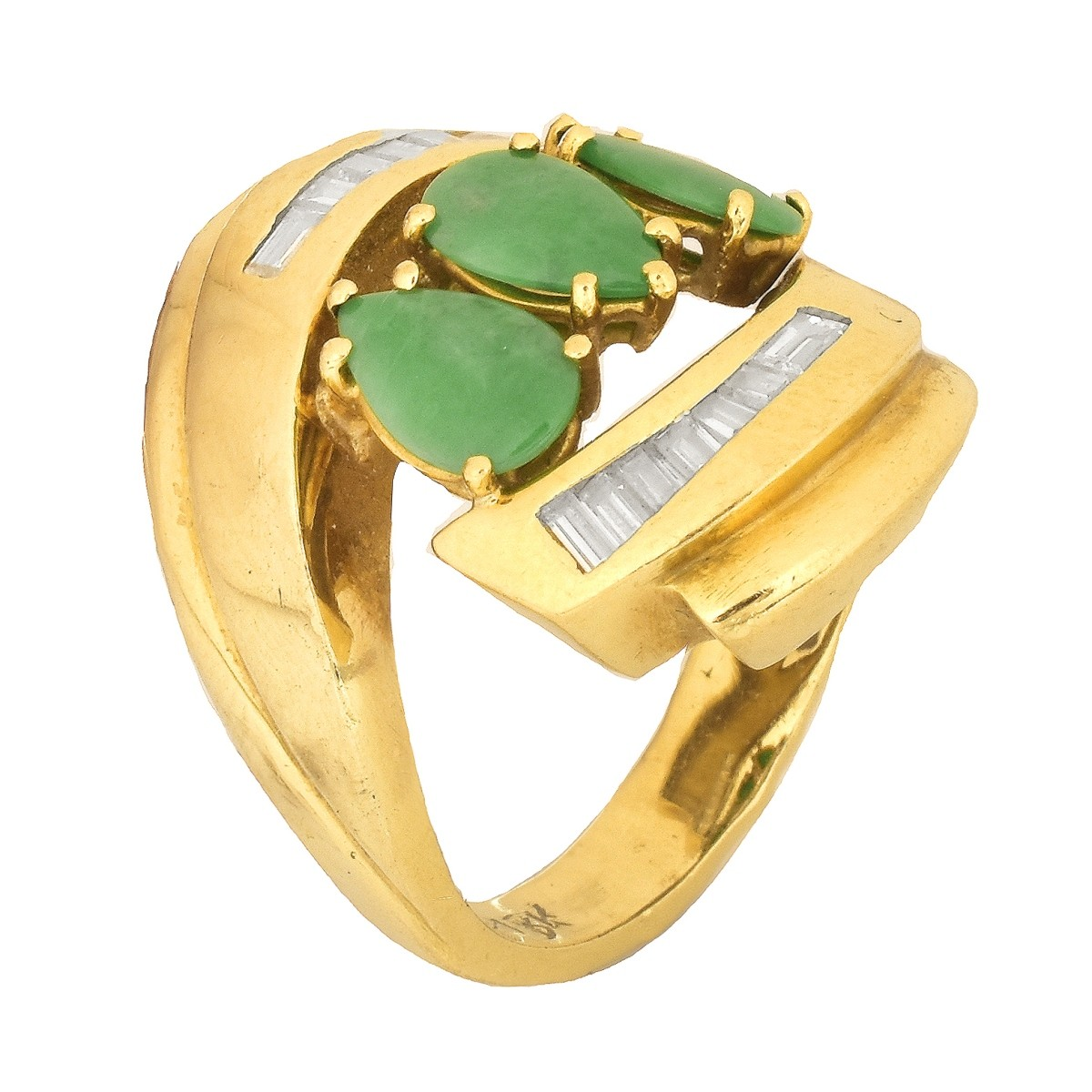 Vintage Jade, Diamond and 18K Gold Ring