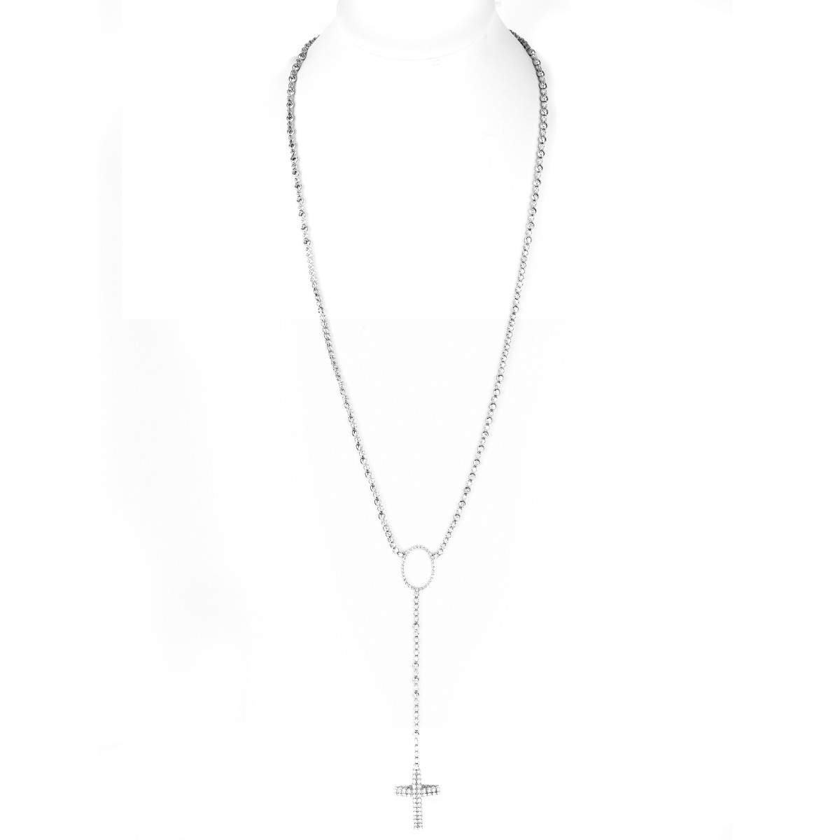 12.75ct Diamond and 18K Gold Cross Necklace