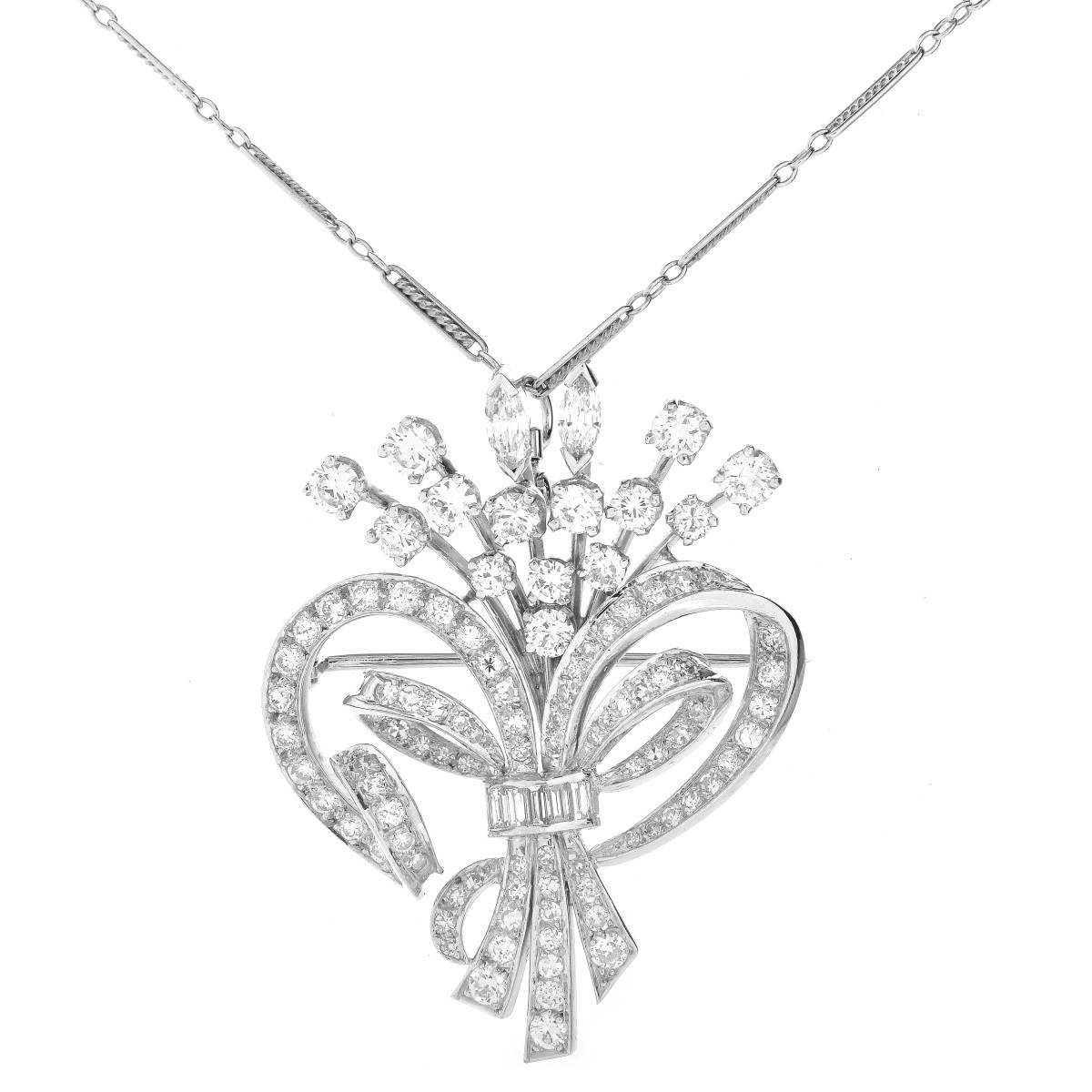 7.50ct TW Diamond and Platinum Pendant / Brooch