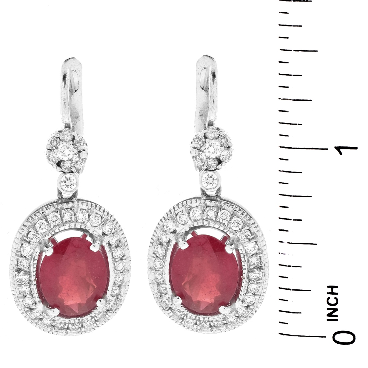 Ruby, Diamond and 14K Gold Earrings
