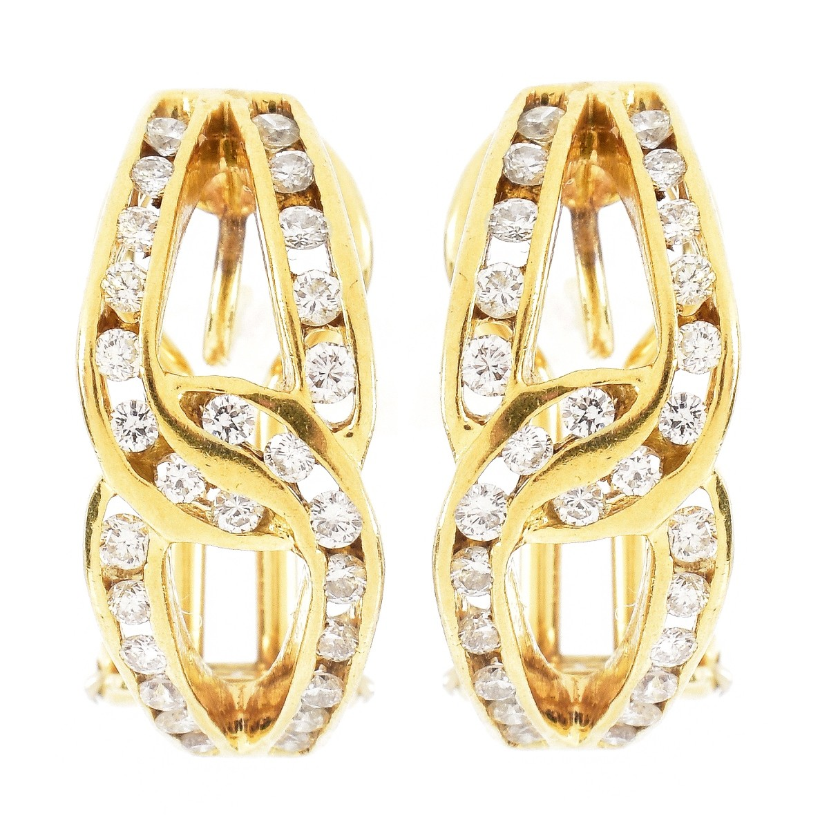 Vintage 1.10ct TW Diamond and 18K Gold Earrings