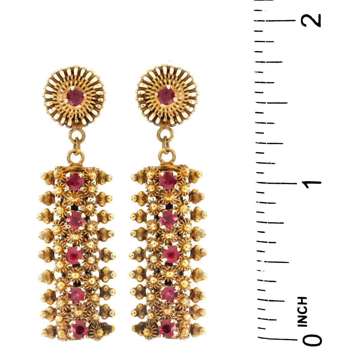 Vintage Ruby and 14K Gold Earrings