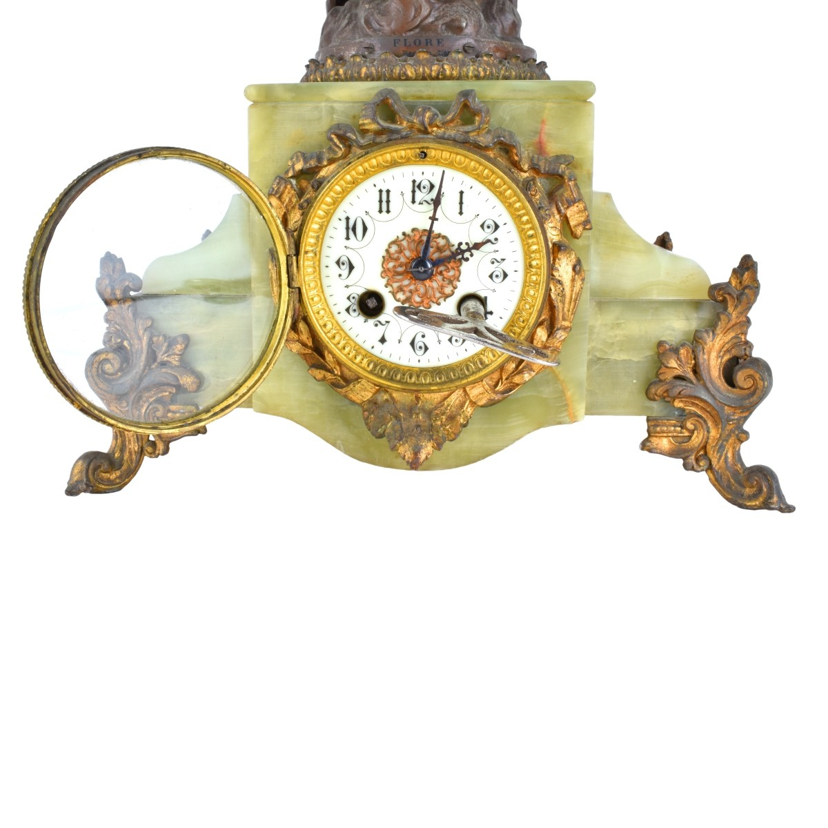 Antique Spelter And Onyx Clock