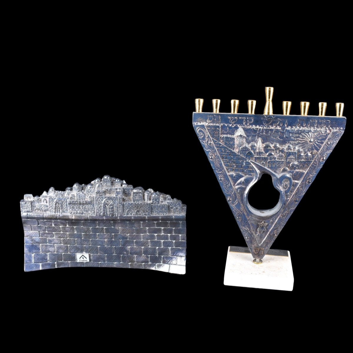 Two Silver Overlay Menorahs