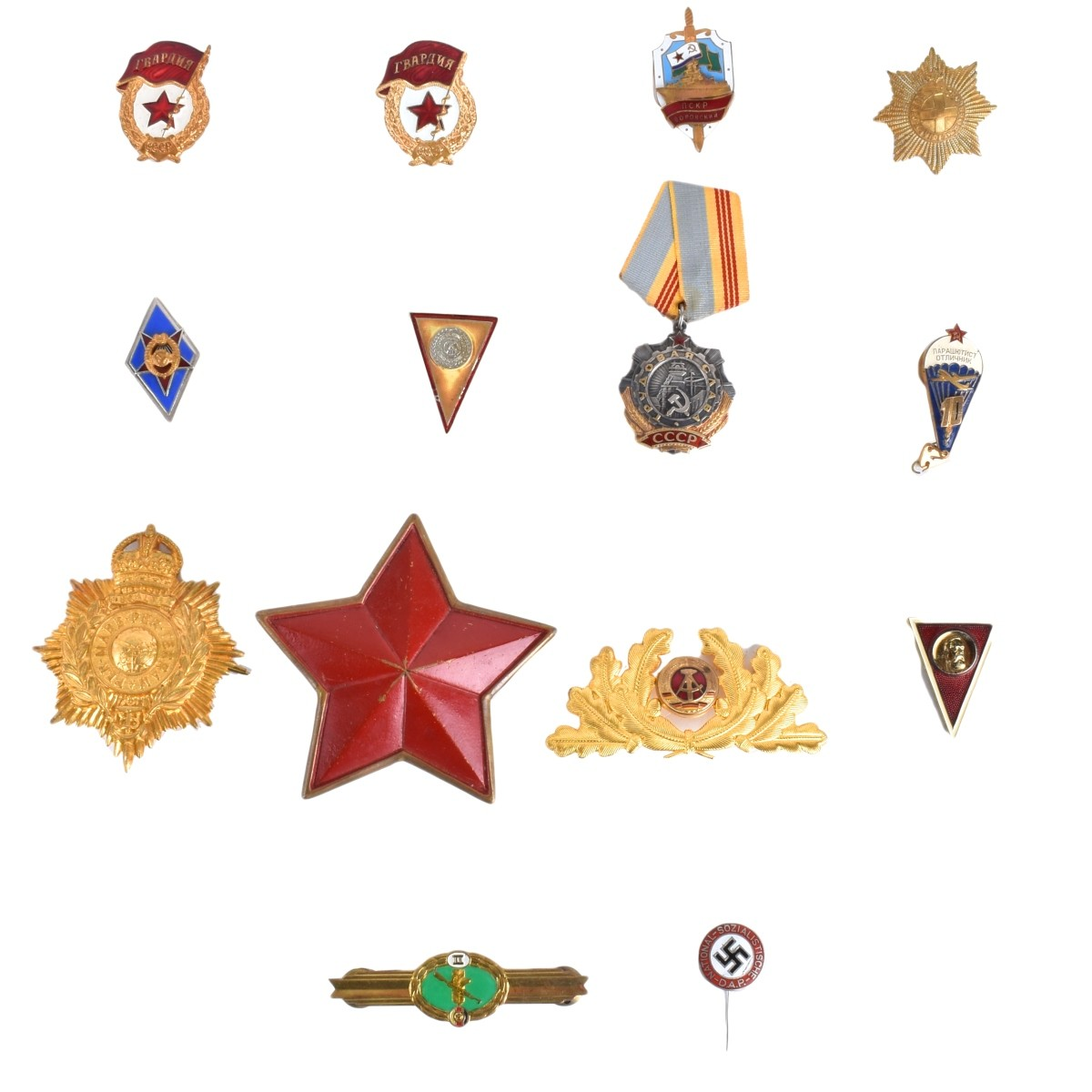 Fourteen (14) Military Metals/Pin Badges