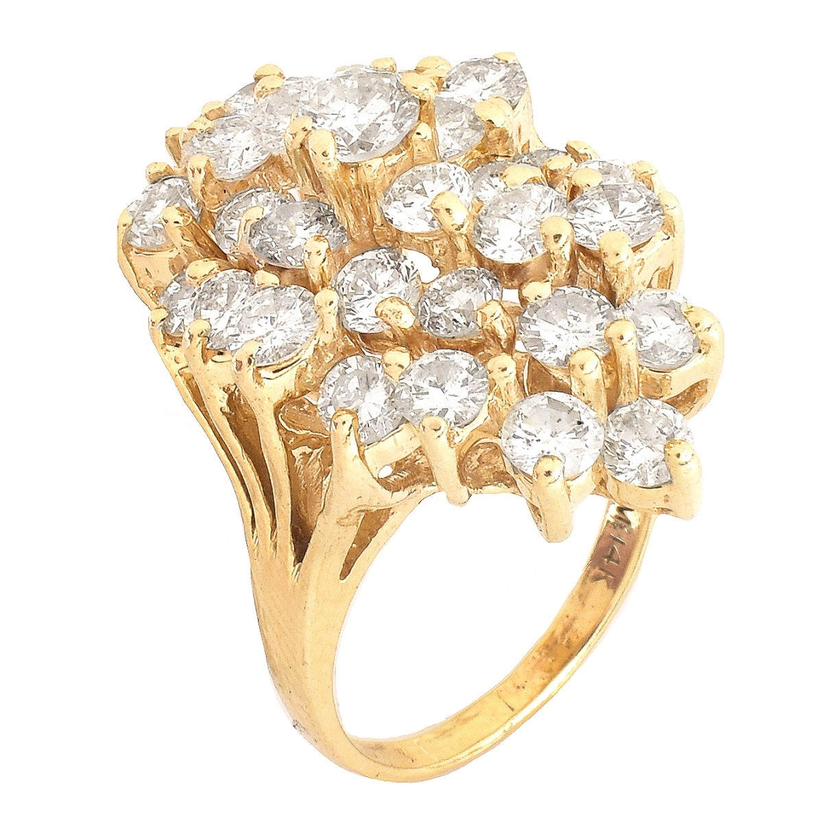 5.25ct TW Diamond and 14K Gold Cluster Ring