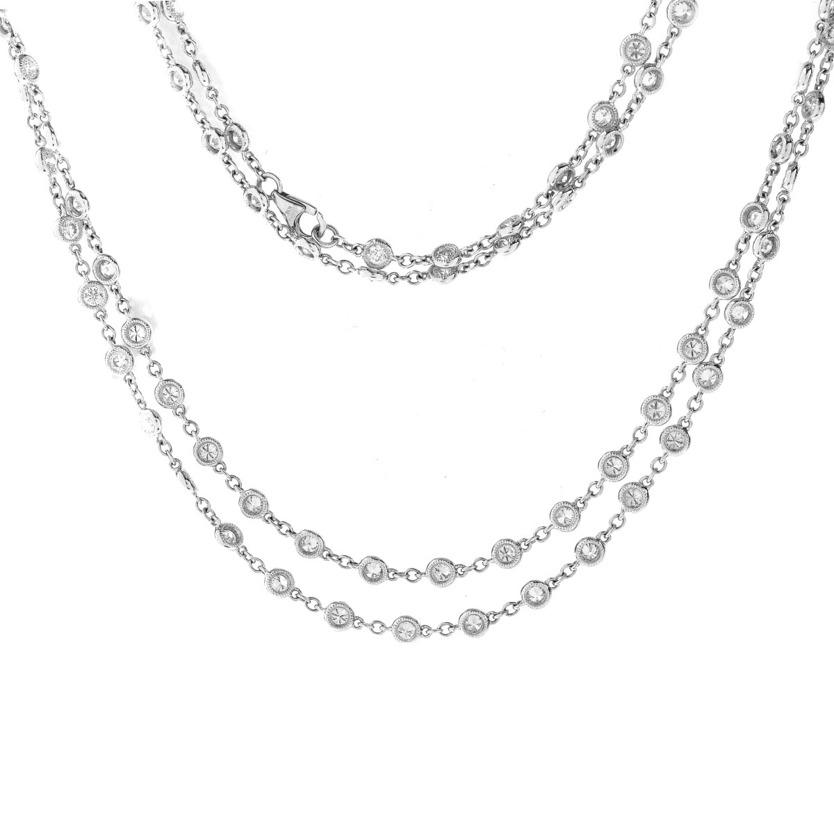 Tiffany style Diamond and 18K Gold Necklace