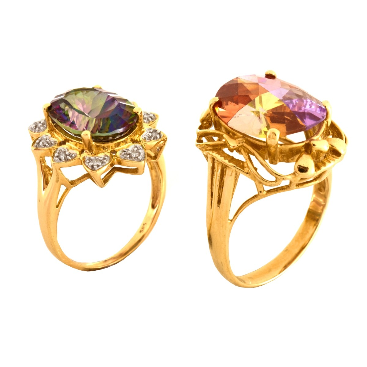 Two 14K Gold Fashion Rings