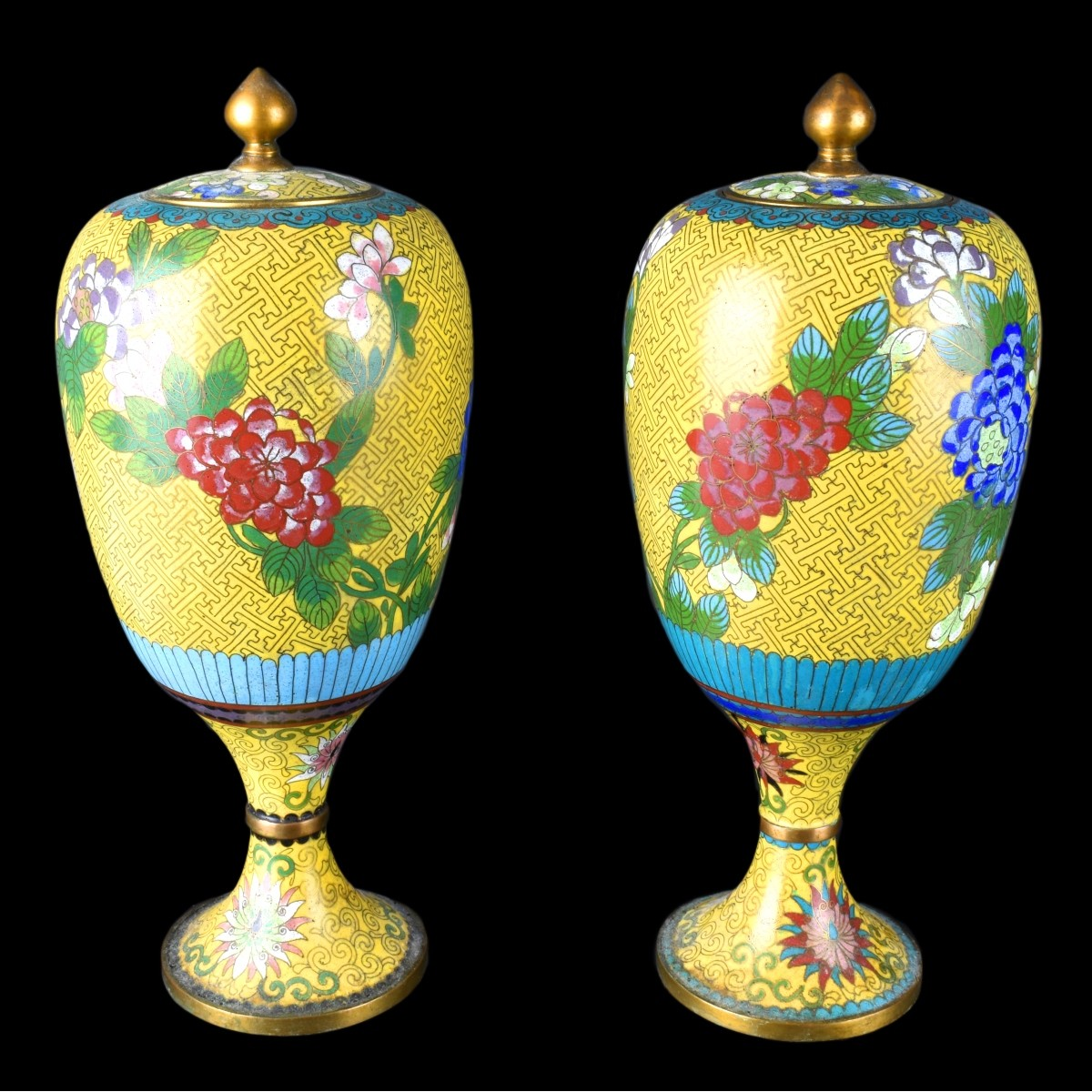 Chinese Cloisonne Covered Vases