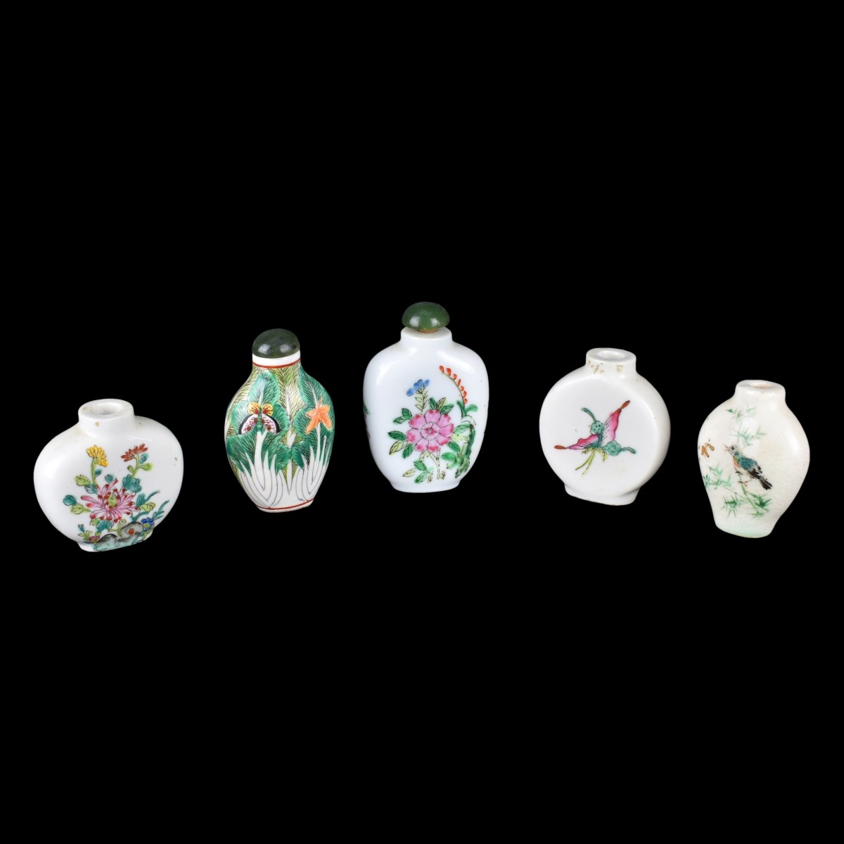 Five (5) Chinese Famille Rose Snuff Bottles