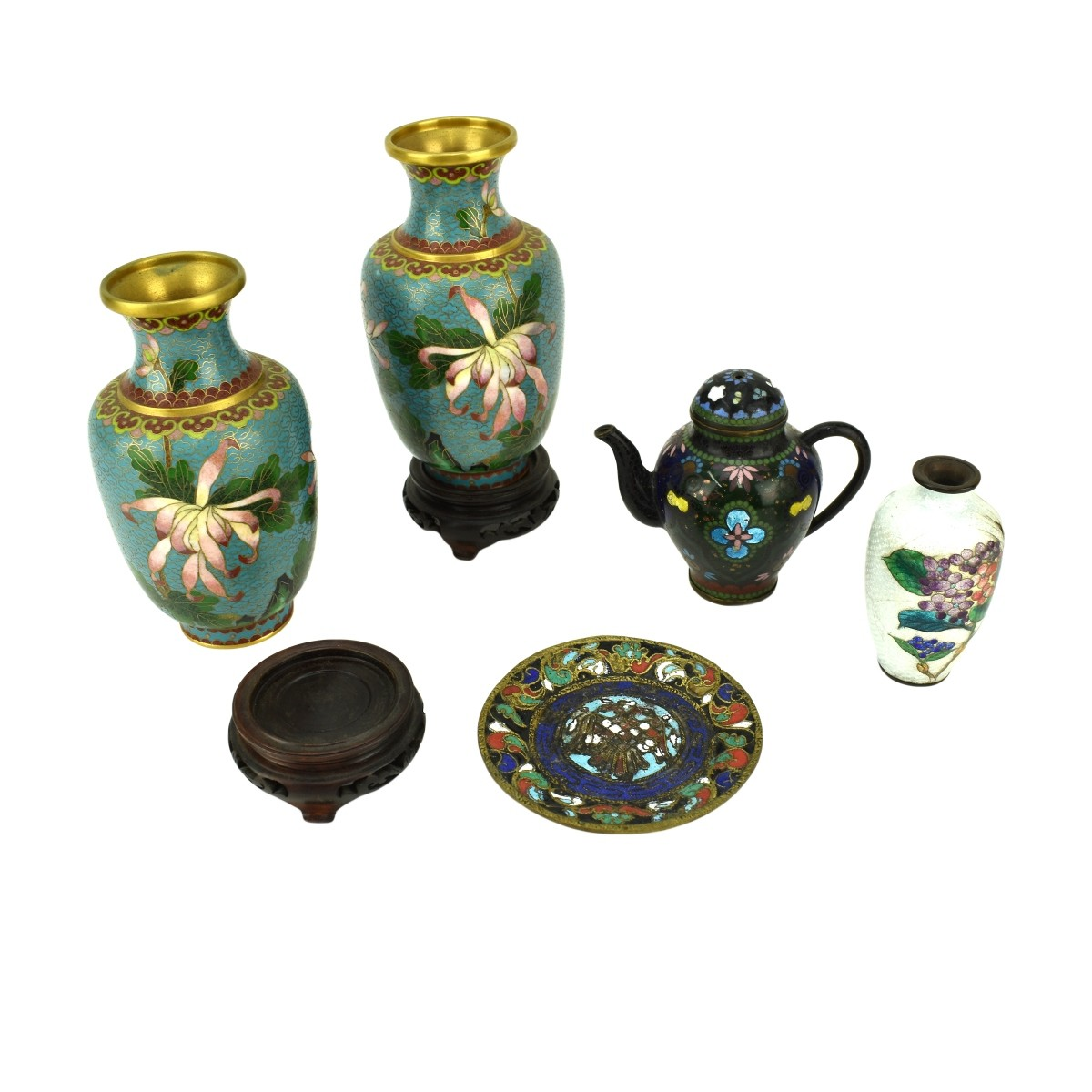 Grouping of Five (5) Chinese Cloisonne